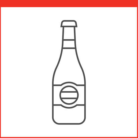 liquors: Bottle of a spirit, liqueur or other alcoholic beverage. Simple outlined vector of alcohol bottle. Linear style