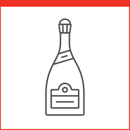 madeira: Bottle of a spirit, liqueur or other alcoholic beverage. Simple outlined vector of alcohol bottle. Linear style