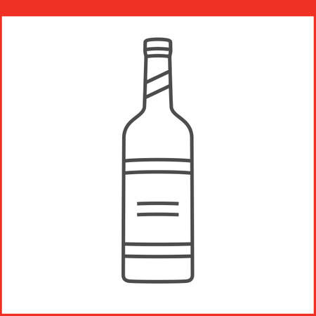 glass bottle: Bottle of a spirit, liqueur or other alcoholic beverage. Simple outlined vector of alcohol bottle. Linear style
