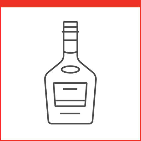 botella de whisky: Bottle of a spirit, liqueur or other alcoholic beverage. Simple outlined vector of alcohol bottle. Linear style