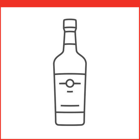 Bottle of a spirit, liqueur or other alcoholic beverage. Simple outlined vector of alcohol bottle. Linear style