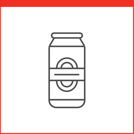coke bottle: Can of beer or other beverage. Simple outlined vector of alcohol bottle. Linear style