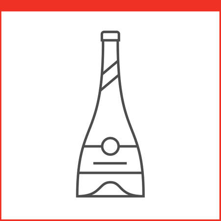 liqueur: Bottle of a spirit, liqueur or other alcoholic beverage. Simple outlined vector of alcohol bottle. Linear style