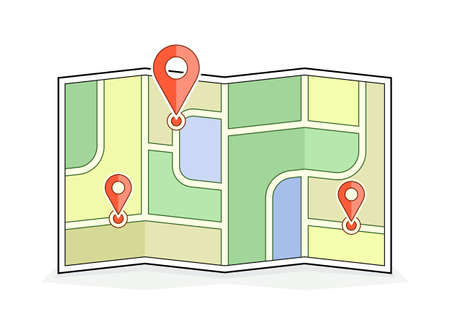 city location: Abstract city map with pointers. Navigation and route illustration. Vector icon for address and contact web page