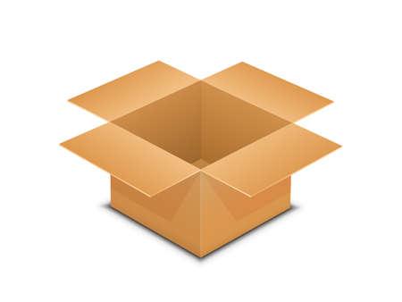 package sending: illustration of brown paper open box. Packaging vector illustration