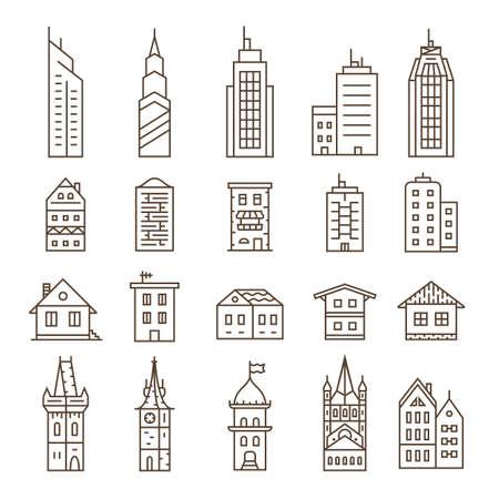 建物のアイコンを設定します。ベクトルの図。リニア シリーズ