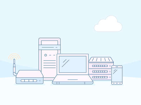 wireles: Wireles networks and devices. Cloud network connection. Vector outlined illustration in material design style. Linear style