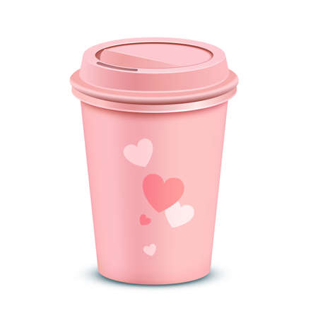 polystyrene: Pink coffee cup. Valentines card with a coffee cup.  Illustration