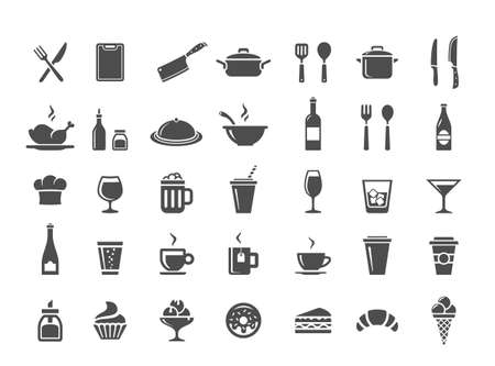 caf: Food and drink icon set. Restaurant, kitchen and cooking icons Illustration