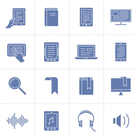 simplus: Electronic and audio book linear icons. Simplus series Illustration