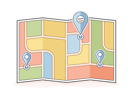 address: Abstract city map with pointers. Navigation and route illustration.