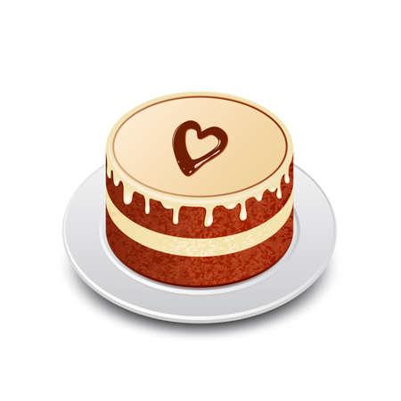 Chocolate cake with chocolate heart. Valentines cake.