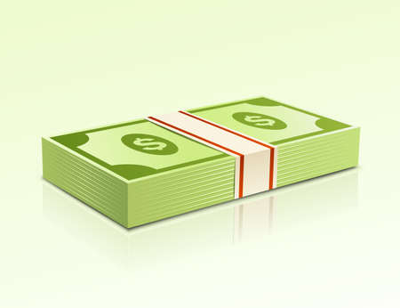 greenbacks: Packs of dollars money on green background. Illustration