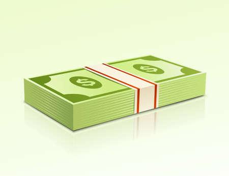 money packs: Packs of dollars money on green background. Illustration