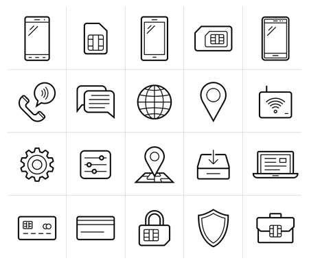 wireless icon: Mobile network operator or wireless service provider icons.  Illustration