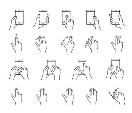 스마트 폰을위한 제스처 아이콘. 모바일 앱의 사용자 인터페이스 또는 설명서 선형 아이콘. 간단한 설명 아이콘 일러스트