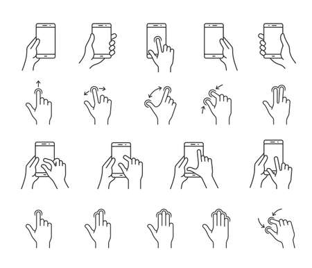 Gesture icons for smartphones. Linear icons for a mobile app user interface or manual. Simple outlined icons Illustration