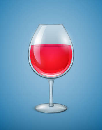 wineglass: Wineglass with red wine.  Illustration