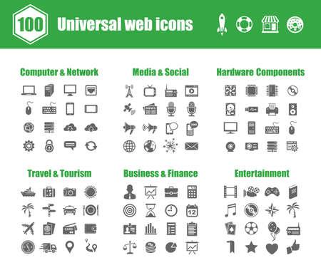 100 の普遍的なアイコン - コンピュータ ネットワーク、メディア、社会、PC のハードウェア コンポーネント、旅行、観光、ビジネス、金融、エンタ