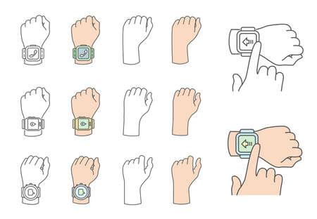 gestures: Smartwatch gestures. Hands with smartwatches.  Illustration
