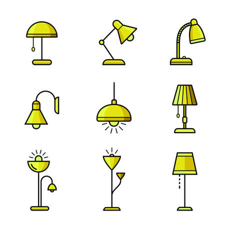 lighting fixtures: Lamps, chandeliers and other lighting devices. Light fixtures icon set.
