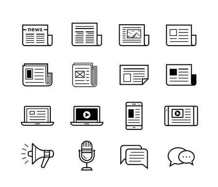 뉴스 미디어 아이콘을 게시 할 수 있습니다. 신문과 현대 장치 및 기술.