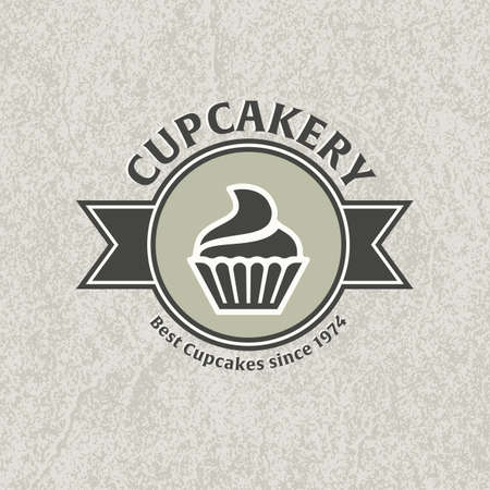 brownie: Cupcake bakery template. Two-tone version of cupcake icon on white and black background.