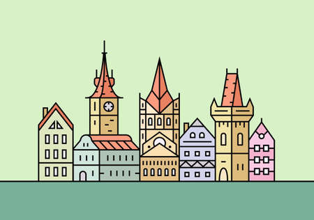 city buildings: Old european town. City skyline. Town buildings vector illustration