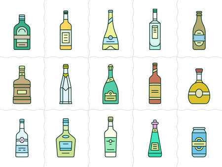 liqueur labels: Different types of alcohol. Vector icons of alcohol bottles. Linear style