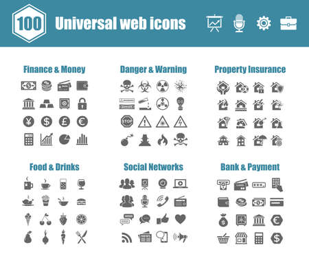 dangers: 100 universal vector icons - Finance and Money, Danger and Warning, Property Insurance, Food and Drinks, Social Networks, Bank and Payment