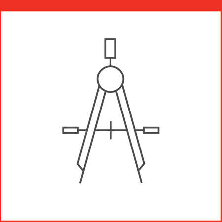 simple line drawing: Compass drawing tool icon. Vector graphics designer tool. Simple outlined vector icon in linear style Illustration