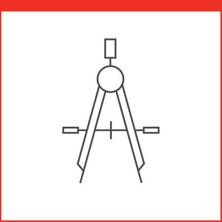 bussola: Compass icona strumento di disegno. Grafica vettoriale strumento di progettazione. Semplice icona del vettore indicato nella stile lineare