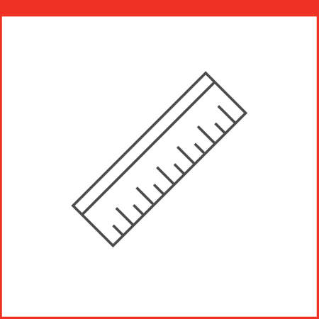 is outlined: Ruler tool icon. Vector graphics designer tool. Simple outlined vector icon in linear style Illustration