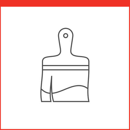 simple line drawing: Paintbrush tool icon. Vector graphics designer tool. Simple outlined vector icon in linear style