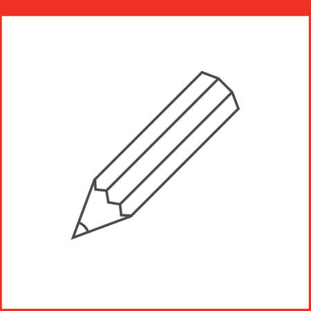 simple line drawing: Pencil tool icon. Vector graphics designer tool. Simple outlined vector icon in linear style