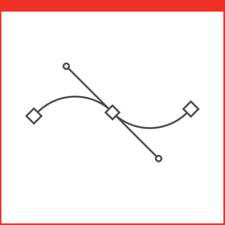 bezier: Bezier curve tool icon. Vector graphics designer tool. Simple outlined vector icon in linear style