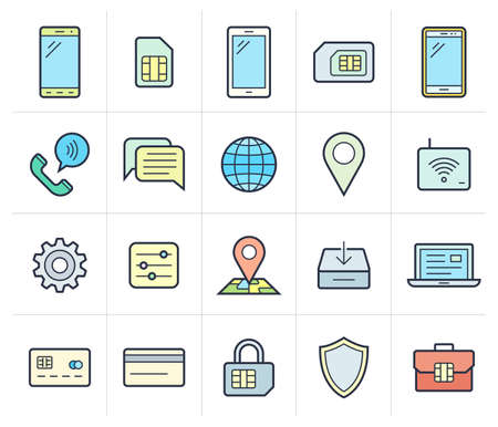sms payment: Mobile network operator or wireless service provider icons. Vector icons for cellular company