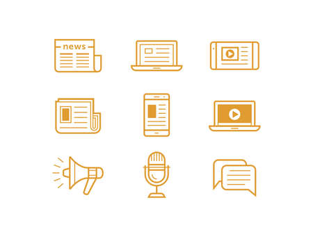 features: News media icons. Traditional and modern media. Newspaper and modern devices and technology. Vector illustration