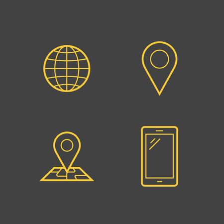 service provider: Mobile network operator or wireless service provider linear icons. Vector icons