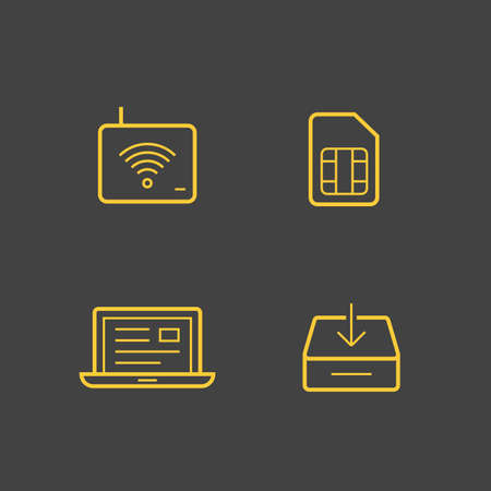 service provider: Wireless service provider linear icons. Vector icons
