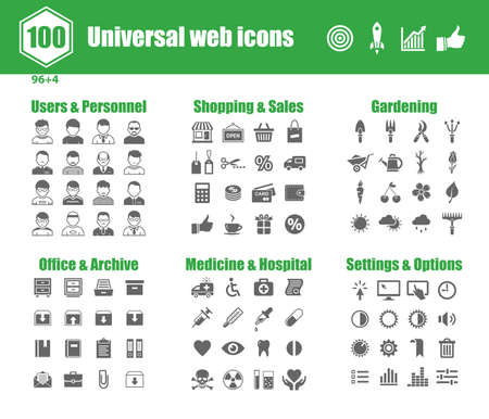 100 universal vector icons - Users and Personnel, Shopping and Sales, Gardening, Office and Archive, Medicine and Hospital, Settings and Options