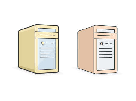 workstation: Computer icon. Vector icon of pc workstation computer. Linear style vector illustration