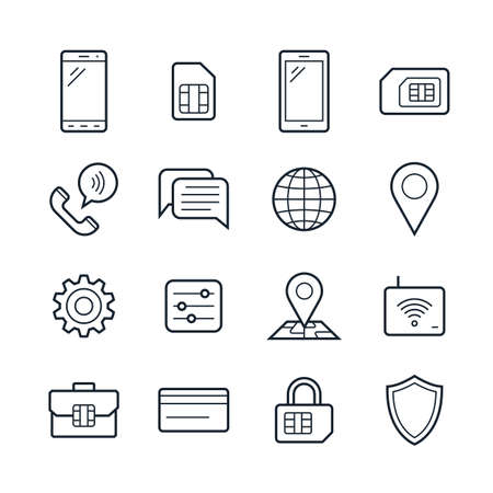 tariff: Mobile network operator or wireless service provider icons. Vector icons for cellular company
