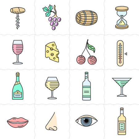 bottle nose: Vector icon set for back wine labels. Procurement, storage, cellar rotation and tasting icons. Linear style
