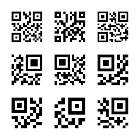 simplified: Simplified QR code icon set. Vector illustration