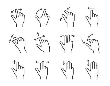 nudge: Gesture collection for touch devices. Clean and simple vector icons for an app user interface or manual. Linear style Illustration
