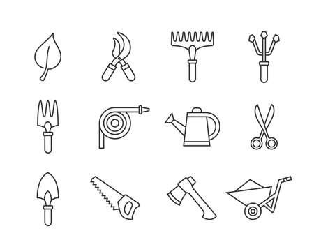 garden hose: Gardening tools icon set. Vector illustration of garden tools. Linear style