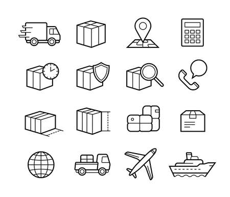 transport: Paketleveransservice ikonuppsättning. Snabb leverans och kvalitet transport. Frakt vektor ikoner för logistikföretag.