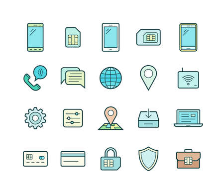 service provider: Mobile network operator or wireless service provider icons. Vector icons for cellular company