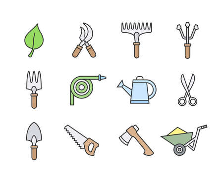 garden hoses: Gardening tools icon set. illustration of garden tools. Linear style